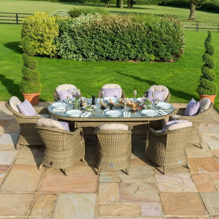 Maze Rattan Garden Furniture Winchester 8 Seat Oval Fire Pit Table with Heritage Chairs