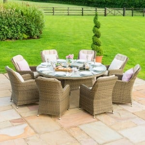 Maze Rattan Garden Furniture Winchester 8 Venice Chairs Round Ice Bucket Dining Set