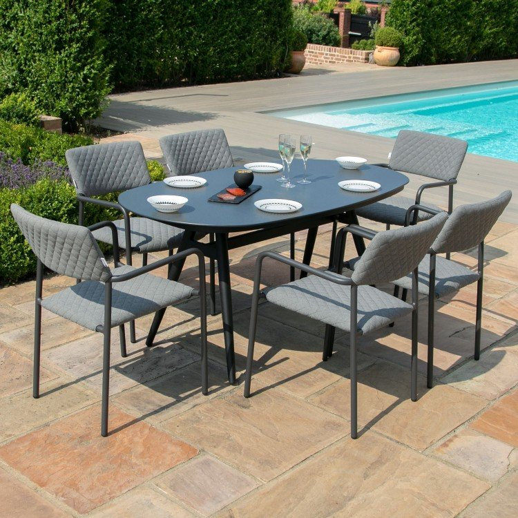 Maze Lounge Outdoor Fabric Bliss Flanelle 6 Seat Oval Dining Set - PRE ORDER