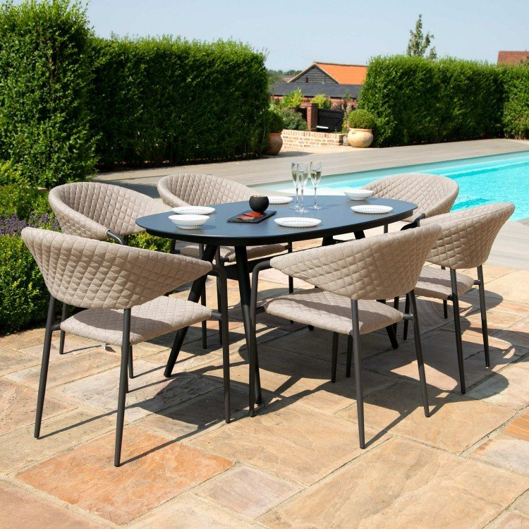 Maze Lounge Outdoor Fabric Pebble Taupe 6 Seat Oval Dining Set - PRE ORDER
