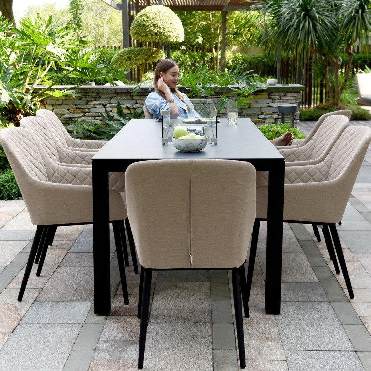 Maze Lounge Outdoor Fabric Zest Taupe 8 Seat Rectangular Fire Pit Dining Set - PRE ORDER