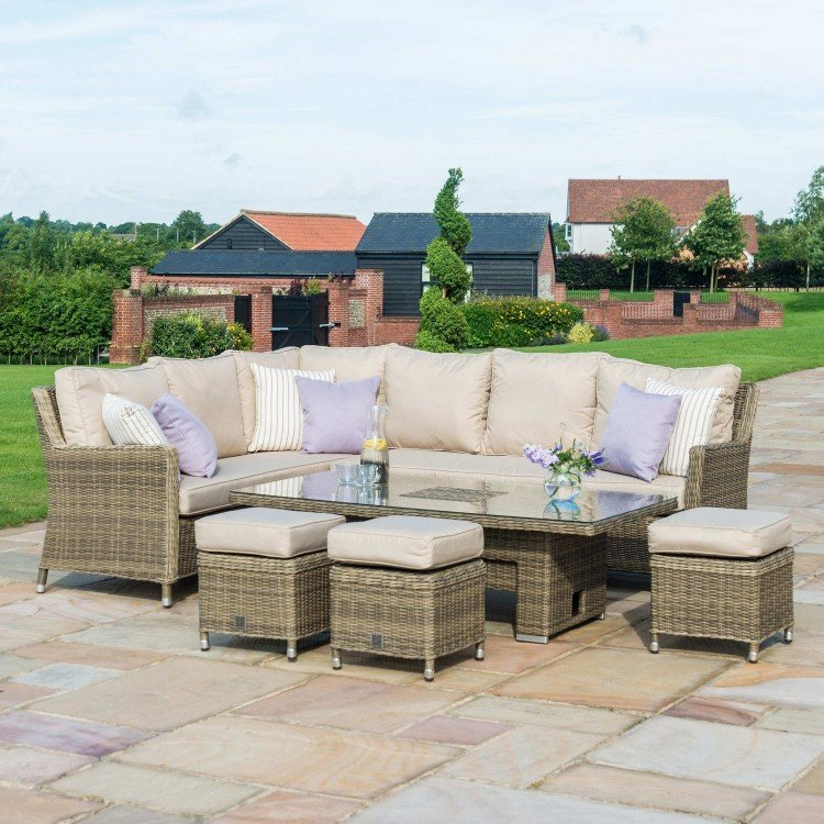 Maze Rattan Garden Furniture Winchester Ice Bucket Corner Rising Dining Table Set - PRE ORDER