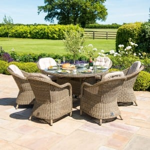 Maze Rattan Garden Furniture Winchester 6 Seat Round Fire Pit Table With Heritage Chairs