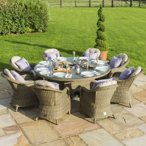 Maze Rattan Garden Furniture Winchester 8 Seater Round Ice Bucket Dining Set with Lazy Susan