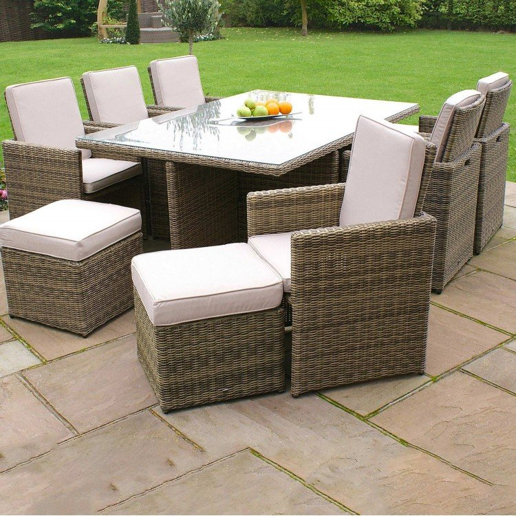 Maze Rattan Garden Winchester 7 pcs Cube Set with Footstools