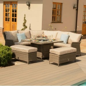 Maze Rattan Garden Furniture Winchester Royal Corner Dining Sofa Set with Fire Pit