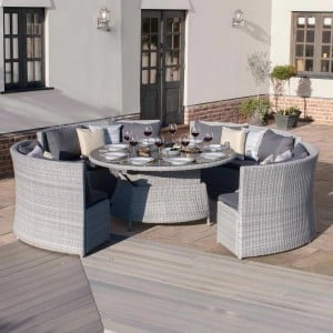 Maze Rattan Garden Furniture Ascot Round Sofa Dining Set with Rising Table