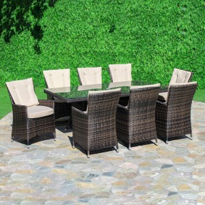 Maze Rattan Garden Furniture LA Brown 8 Seat Rectangle Dining Set