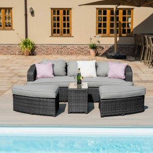 Maze Rattan Garden Furniture Toronto Grey Daybed