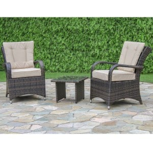 Maze Rattan Garden Furniture Texas Brown 3 Piece Lounge Set