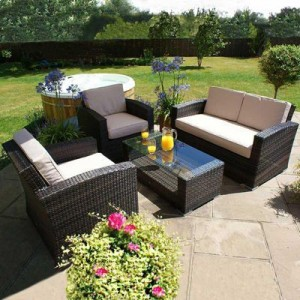 Maze Rattan Garden Furniture Kingston Brown 2 Seater Sofa Set