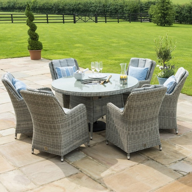 Maze Rattan Garden Furniture Oxford Round Ice Bucket Table with 6 Venice Chairs & Lazy Susan