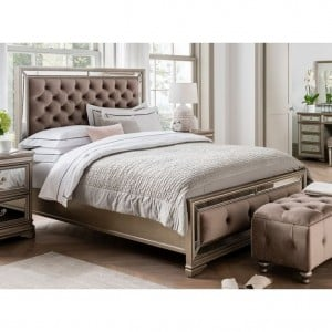 Vida Living Jessica Taupe Velvet and Mirrored 6ft Bed