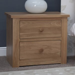 Torino Solid Oak Furniture 2 Drawer Wide Bedside Cabinet