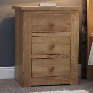 Torino Solid Oak Furniture 3 Drawer Narrow Bedside Cabinet