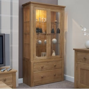 Clearance Torino Solid Oak Furniture 2 Door Glass Display Unit