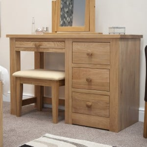 Torino Solid Oak Furniture Dressing Table and Stool