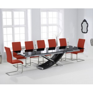 Hanover 210cm Glass Furniture Extending Red Malibu Chair Set