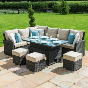 Maze Rattan Garden Furniture Kingston Brown Corner Dining Set With Rising Table - PRE ORDER