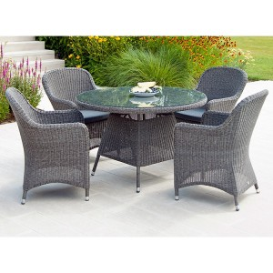 Alexander Rose Monte Carlo 4 Seater Chair Round Rattan Dining Set