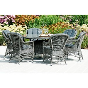 Alexander Rose Monte Carlo 6 Seater Chair Round Rattan Dining Set