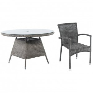 Alexander Rose Monte Carlo 4 Seater Chair Square Rattan Dining Set