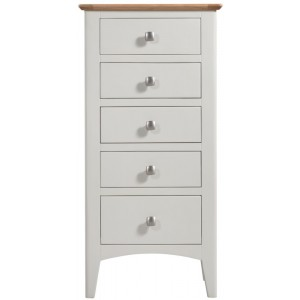 Alfriston White Painted Furniture 5 Drawer Tall Chest
