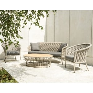 Alexander Rose Cordial Garden Beige Lounge Set With Roble Top Table