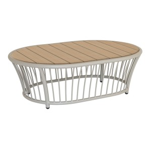 Alexander Rose Cordial Garden Beige Oval Coffee Table With Roble Top