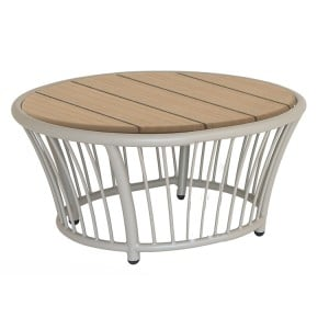 Alexander Rose Cordial Garden Beige Round Side Table With Roble Top