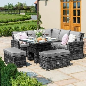 Maze Rattan Richmond Grey Corner Bench Set with Rising Table