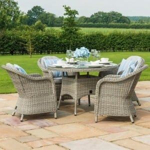 Maze Rattan Garden Furniture Oxford 4 Seat Round Dining Set with Heritage Chairs