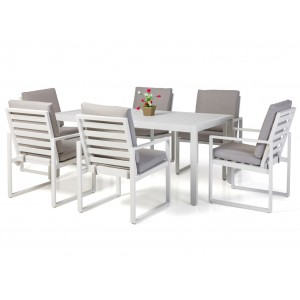 Maze Garden Amalfi White Rectangular Dining Set with 6 Fabric Chairs