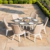Maze Fabric Garden Furniture Pacific 6 Seat Round Dining Set in Taupe