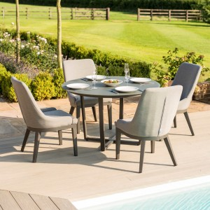 Maze Fabric Garden Pacific 4 Seat Round Dining Set in Flanelle