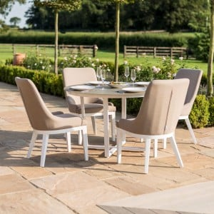 Maze Fabric Garden Furniture Pacific 4 Seat Round Dining Set in Taupe