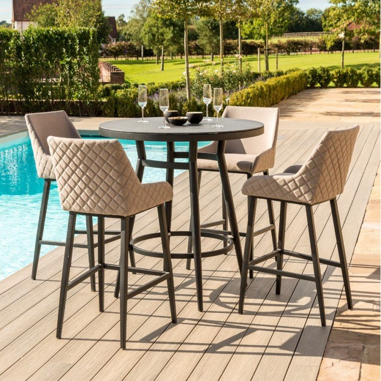 Maze Lounge Outdoor Fabric Regal 4 Seat Round Bar Set in Taupe