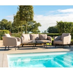 Maze Fabric Garden Furniture Ambition 3 Seat Sofa Set in Taupe