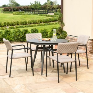 Maze Lounge Outdoor Fabric Bliss 4 Seat Round Dining Set in Taupe