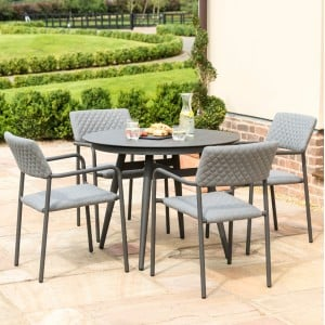 Maze Fabric Furniture Bliss 4 Seat Round Dining Set in Flanelle