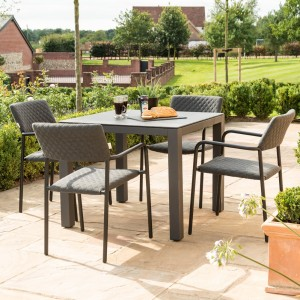 Maze Fabric Furniture Bliss 4 Seat Square Dining Set in Flanelle