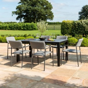 Maze Fabric Garden Bliss 6 Seat Rectangular Dining Set in Flanelle