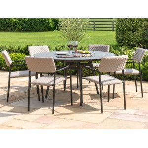 Maze Fabric Garden Bliss 6 Seat Round Dining Set in Taupe