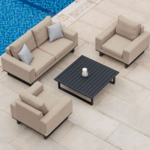 Maze Fabric Garden Furniture Ethos 2 Seat Sofa Set in Taupe