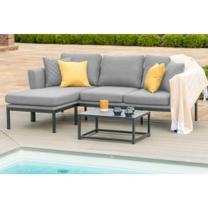 Maze Fabric Garden Furniture Pulse Chaise Sofa Set in Flanelle