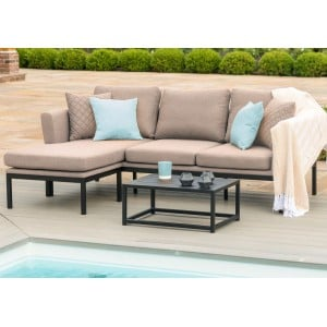 Maze Fabric Garden Furniture Pulse Chaise Sofa Set in Taupe