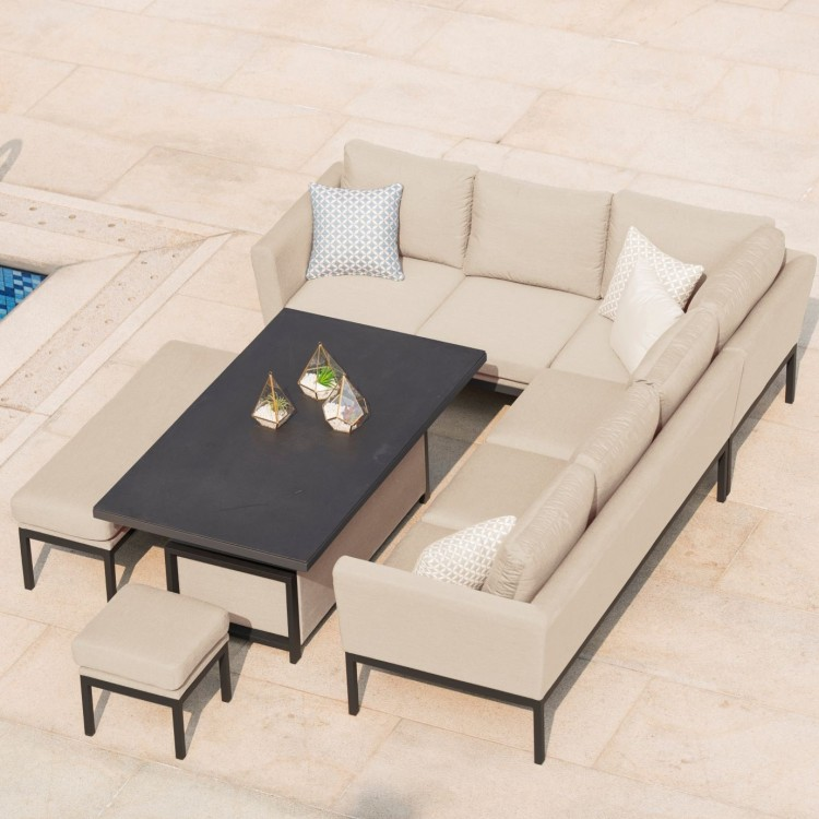 Maze Fabric Garden Furniture Pulse Corner Dining Set in Taupe