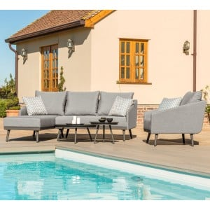 Maze Lounge Outdoor Fabric Zeno Flanelle Chaise Sofa Set