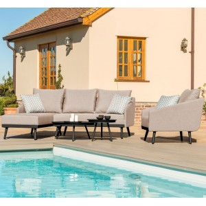 Maze Lounge Outdoor Fabric Zeno Chaise Sofa Set in Taupe