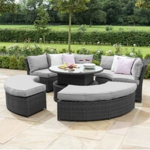 Maze Rattan Garden Furniture Grey Chelsea Lifestyle Sofa Set & Glass Table Top